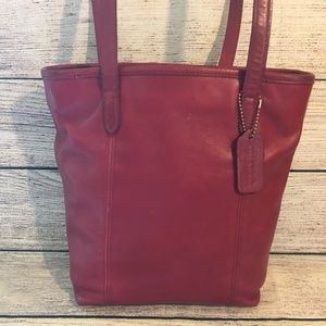 COACH Red Leather N/S Bucket Lunch Tote